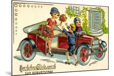 Präge Glückwunsch Geburtstag, Auto, Kind, Blumen--Mounted Giclee Print