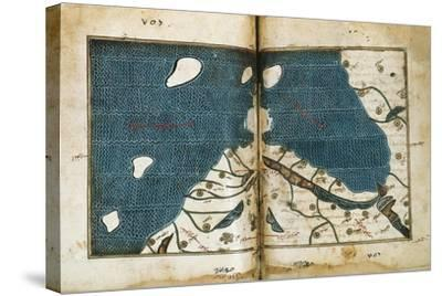World Map from Treatise of Geography, Circa 1099-1165, Manuscript--Stretched Canvas Print