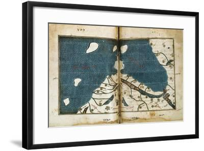 World Map from Treatise of Geography, Circa 1099-1165, Manuscript--Framed Giclee Print