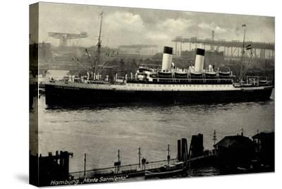 Hamburg, HSDG, Dampfschiff Monte Sarmiento, Hafen--Stretched Canvas Print