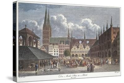 Germany, Lubeck, Marktplatz--Stretched Canvas Print