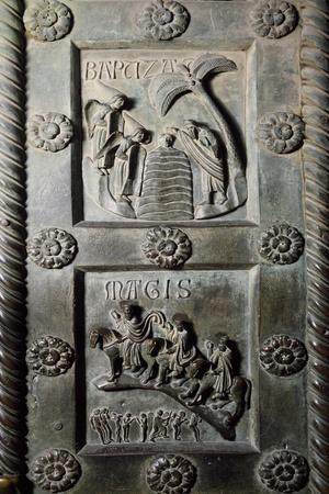 Baptism of Christ and Ride of Magi with Original Sin, Bronze Panels from St Ranieri's Door, Ca 1180-Bonanno Pisano-Framed Giclee Print