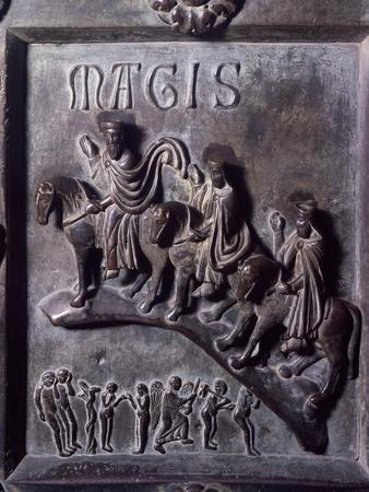 Ride of Magi with Original Sin, Bronze Panels from St Ranieri's Door-Bonanno Pisano-Stretched Canvas Print