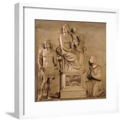Enthroned Madonna and Child, St George and Figure Praying-Antonio Lombardi-Framed Giclee Print