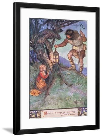 Discovered a Tiny Girl Cowering under a Thorn Bush-Charles Edmund Brock-Framed Giclee Print