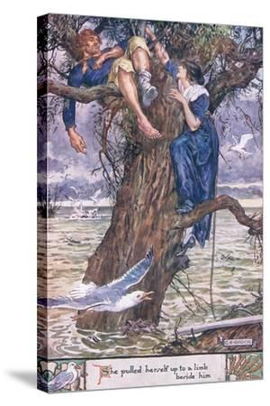 She Pulled Herself Up to a Limb Beside Him.-Charles Edmund Brock-Stretched Canvas Print