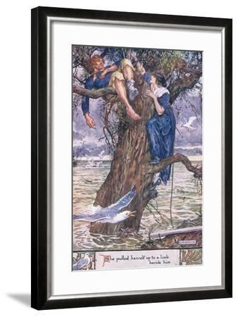 She Pulled Herself Up to a Limb Beside Him.-Charles Edmund Brock-Framed Giclee Print
