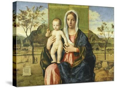 Madonna and Child Blessing-Giovanni Bellini-Stretched Canvas Print