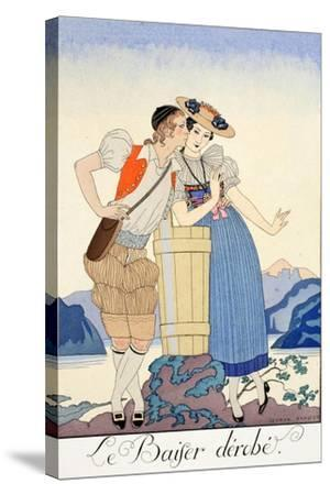 The Stolen Kiss-Georges Barbier-Stretched Canvas Print