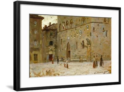 In Square in Volterra-Francesco Gioli-Framed Giclee Print