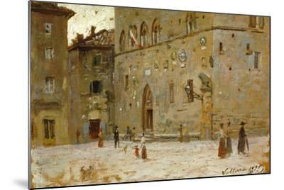 In Square in Volterra-Francesco Gioli-Mounted Giclee Print