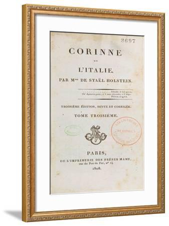 Title Page of 'Corinne Ou L'Italie'-Germaine de Stael-Framed Giclee Print