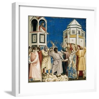 The Massacre of the Innocents, Detail from Life and Passion of Christ, 1303-1305-Giotto di Bondone-Framed Giclee Print