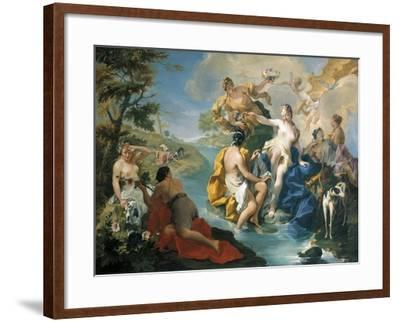 Diana and Her Nymphs, in Background Actaeon Is Being Devoured by Dogs-Giovanno Battista Pittoni-Framed Giclee Print