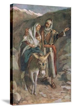 The Flight to Egypt-Harold Copping-Stretched Canvas Print