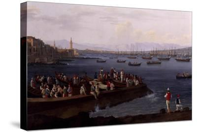 The Bay of Naples Near Santa Lucia Showing the Naval Fleets Returning from Algiers-Jacob Philipp Hackert-Stretched Canvas Print