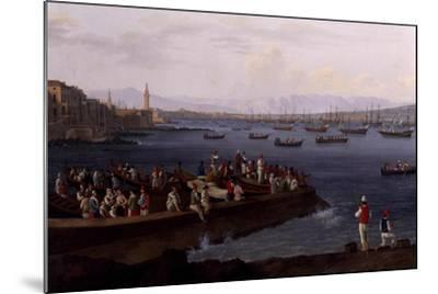 The Bay of Naples Near Santa Lucia Showing the Naval Fleets Returning from Algiers-Jacob Philipp Hackert-Mounted Giclee Print