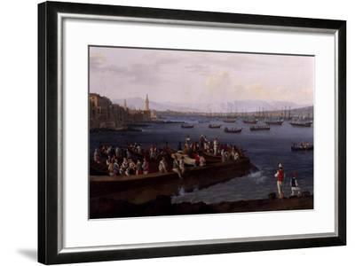 The Bay of Naples Near Santa Lucia Showing the Naval Fleets Returning from Algiers-Jacob Philipp Hackert-Framed Giclee Print