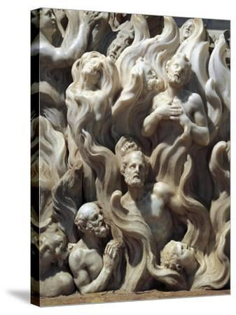 Souls in Purgatory, Detail from Relief Decorated Altar-Giuseppe Bernardi-Stretched Canvas Print