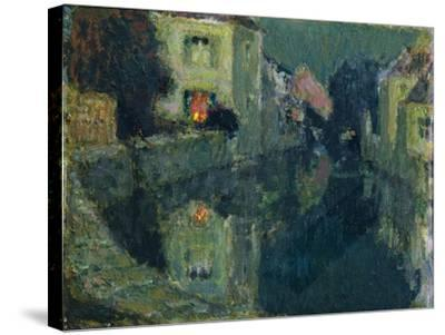 The Canal at Night-Henri Eugene Augustin Le Sidaner-Stretched Canvas Print