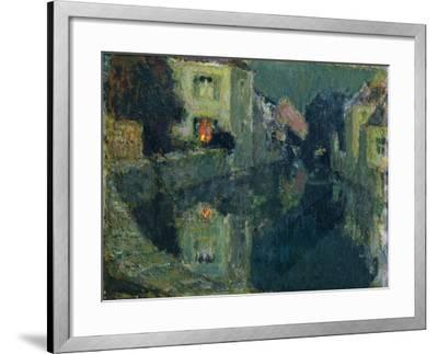 The Canal at Night-Henri Eugene Augustin Le Sidaner-Framed Giclee Print