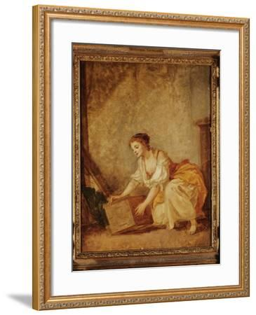 A Young Girl Lifting a Chest-Jean-Baptiste Greuze-Framed Giclee Print