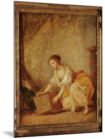 A Young Girl Lifting a Chest-Jean-Baptiste Greuze-Mounted Giclee Print