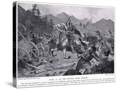 Basil II, at Battle Near Setania 1017 AD-John Harris Valda-Stretched Canvas Print