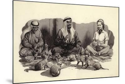 An Arab Man Feeds His Cats-Pat Nicolle-Mounted Giclee Print