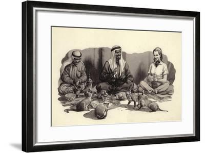 An Arab Man Feeds His Cats-Pat Nicolle-Framed Giclee Print
