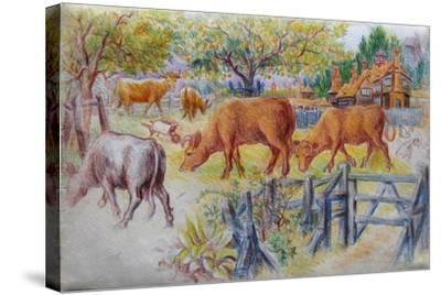 Cows Grazing-Louis Wain-Stretched Canvas Print
