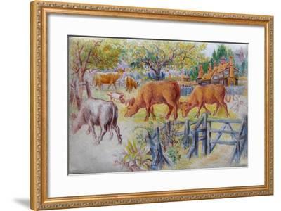 Cows Grazing-Louis Wain-Framed Giclee Print