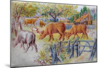 Cows Grazing-Louis Wain-Mounted Giclee Print