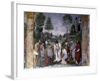 Valerian Being Instructed in Faith by Pope Urban-Lorenzo Costa-Framed Giclee Print