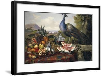 Still Life with Peacock-Luis Portu-Framed Giclee Print