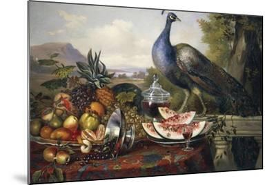 Still Life with Peacock-Luis Portu-Mounted Giclee Print