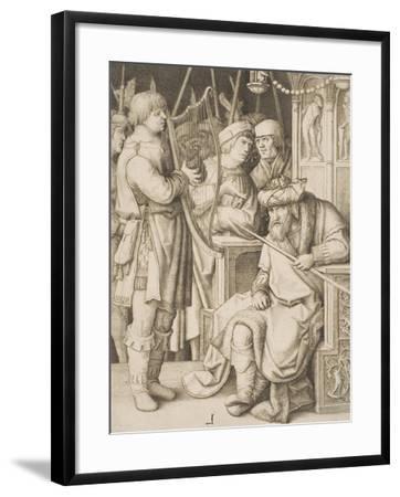 David Playing the Harp before Saul, C.1508-Lucas van Leyden-Framed Giclee Print