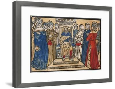 Charlemagne and His Court from the Great Chronicle of French Kings-Robert Gaguin-Framed Giclee Print
