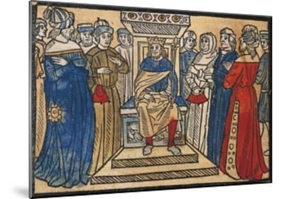 Charlemagne and His Court from the Great Chronicle of French Kings-Robert Gaguin-Mounted Giclee Print