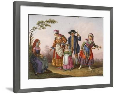 Scenes with Figures in Traditional Costumes-Raffaele Giovine-Framed Giclee Print