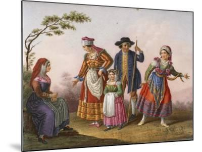 Scenes with Figures in Traditional Costumes-Raffaele Giovine-Mounted Giclee Print