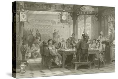 Dinner Party at a Mandarin's House-Thomas Allom-Stretched Canvas Print