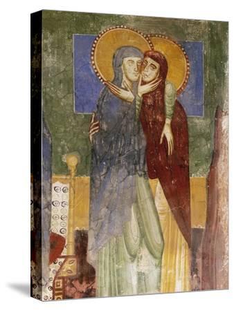 Meeting, 12th Century Fresco in Chapel of Saint Magdalene, Hocheppan Castle, Bolzano--Stretched Canvas Print