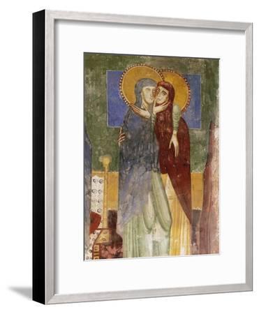 Meeting, 12th Century Fresco in Chapel of Saint Magdalene, Hocheppan Castle, Bolzano--Framed Giclee Print