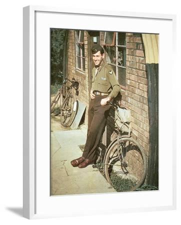 A United States Air Force Pilot Standing in Front of His Quarters, England, United Kingdom, 1944--Framed Photographic Print