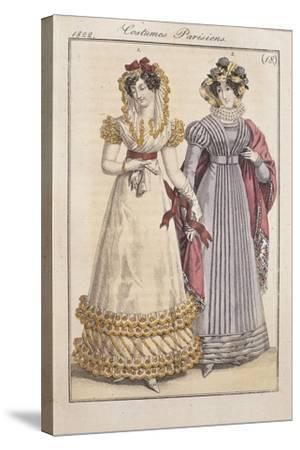 Fashion Plate Depicting Parisiennes During the Restauration Period--Stretched Canvas Print