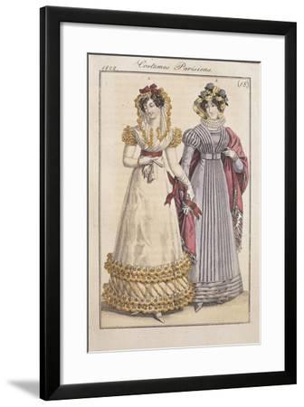 Fashion Plate Depicting Parisiennes During the Restauration Period--Framed Giclee Print