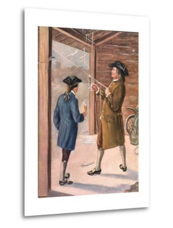 Illustration of Benjamin Franklin and Assistant Performing Lightning Experiment--Metal Print