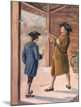 Illustration of Benjamin Franklin and Assistant Performing Lightning Experiment--Mounted Giclee Print