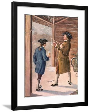 Illustration of Benjamin Franklin and Assistant Performing Lightning Experiment--Framed Giclee Print